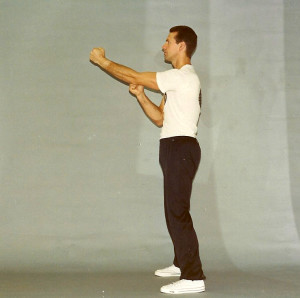 Full transition to left hand. Once single punches had been adequately embodied Derek used to instruct the student to practice Numeric punching in order to train the ability to through combinations. This was done by throwing one punch, followed by a grouping of two punches, then a grouping of three, then four.
